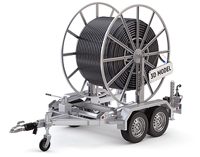 Broadband Cable Drum With Trailer 3D model