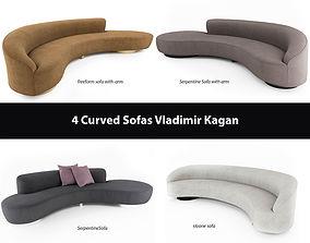 3D model 4 Curved Sofas by Vladimir Kagan