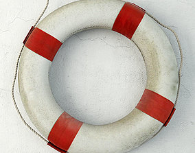 3D model Red and White Life Preserver