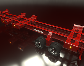 Trailer Container Port Low Poly RIG 3D model rigged