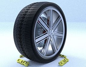 ORTAS CAR RIM 28 GAME READY RIM TIRE AND DISC 3D model