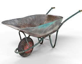 Realistic Used Ruined Wheelbarrow 3D