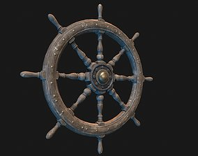 Low Poly PBR Ship Wheel 3D model