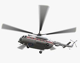 3D model Mi-8MTV Russian Emercom Animated