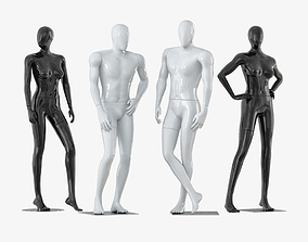 3D Four faceless mannequins two male and two female 33