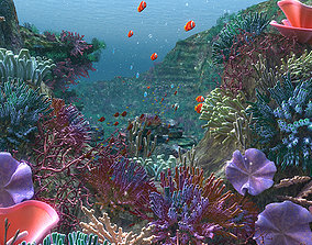 Underwater scene 3D model animated