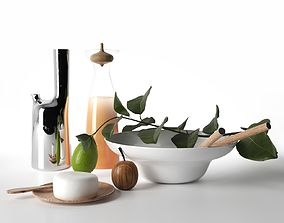 Carafe Pitcher and Bowl with Calabash Fruit 3D