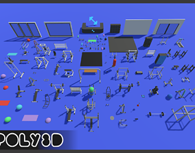 LowPoly Gym Props 3D asset