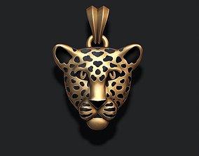 leopard head with enamel 3D print model