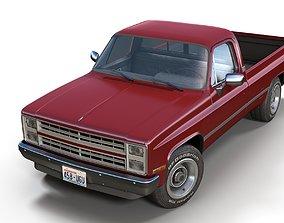 3D model low-poly American generic pickup