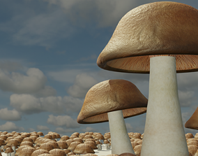 low-poly Mushroom House 3D Model