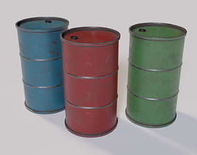 Game Ready Industrial Barrel Pack PBR 3D asset