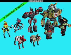 3D model Blocky Robots Animated Pack
