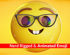 Nerd Face Animated Emoji Reaction 3D model game-ready
