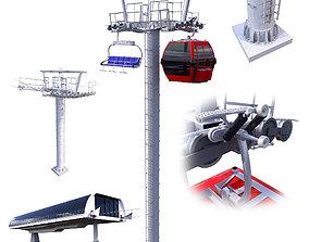 Ski Lift Cableway Car 3D model