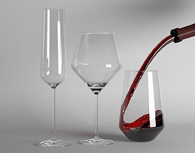 3D model Red Wine and Champagne glasses