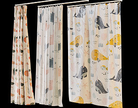 Shower curtain 6 prints 3 position 3D