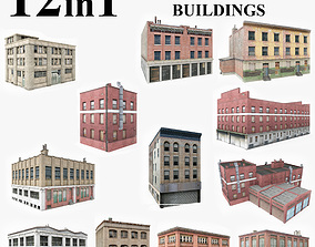 12 Industrial Buildings Collection 3D model