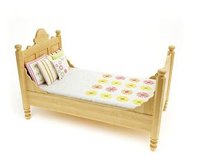 3D model Antique Look Ivory Colored Cot