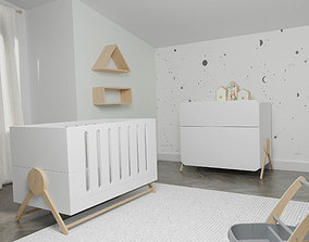 3D Multifunctional Crib and Chest of drawers swing