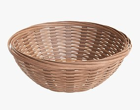 3D model Wicker basket bowl with clipping path 2 light