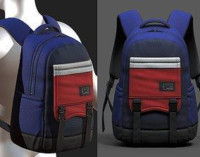 3D asset Backpack bag baggage pockets product
