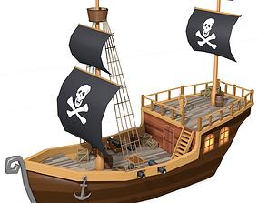 Low Poly Pirate Ship 3D asset