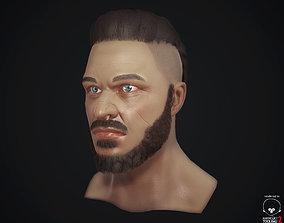 3D asset VR / AR ready Head male model