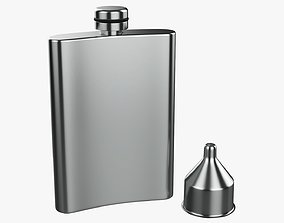 Liquor flask stainless steel 01 3D