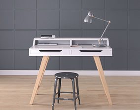 Work Desk Scandinavian White 3D