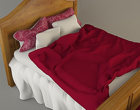 3D model Wooden Bed with bedding