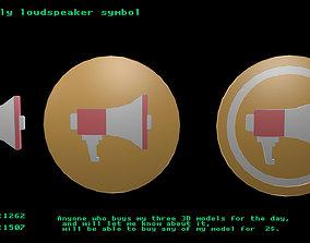 Low poly loudspeaker symbol 3D asset