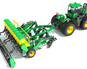 3D model Tractor with Seed Drill soil