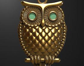 brilliant 3D printable model Owl pendant