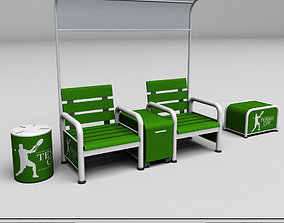 Tennis court bench chair low poly 3D asset