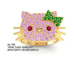 726 Diamond Kitty Ring 3D printable model