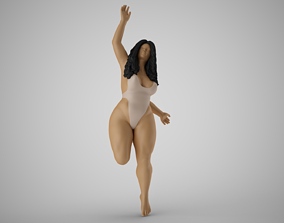 Girl Jumping on the Beach 3D printable model
