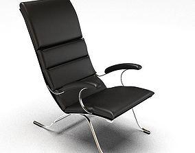 Black Cushioned Chair 3D