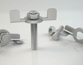 3d Bolt and Nut model 002 Original Sizes Clear Model 3D
