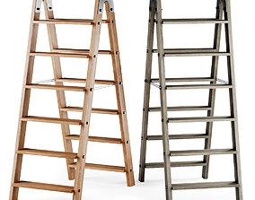 3D Wooden ladder stepladder