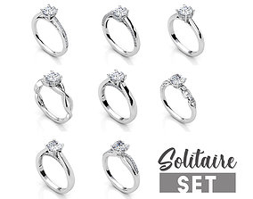 3D print model Solitaire ring set