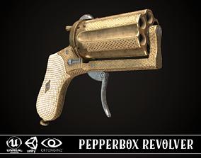 Pepperbox Revolver Brass 3D asset