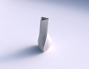 3D print model Vase puffy triangle with bands