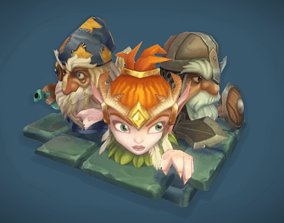 Low Poly Micro Hero Set 3D asset animated