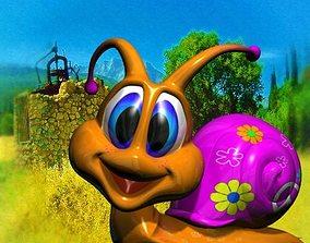 Seventies Snail Rigged 3D asset