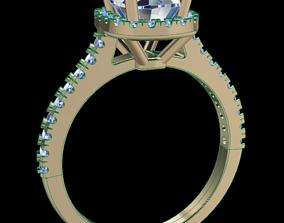 3D printable model Dainty Cushion Diamond Halo Engagement