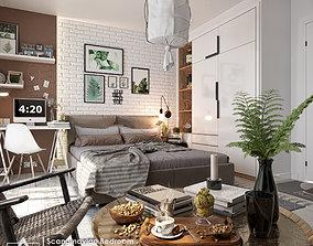 Scandinavian Bedroom space 3D model