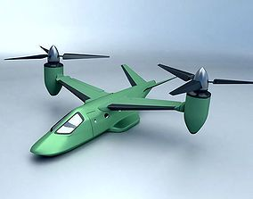 Military rotocraft VTOL concept 3D asset