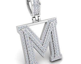 Alphabet Latter M Diamond Pendent 3d Model print