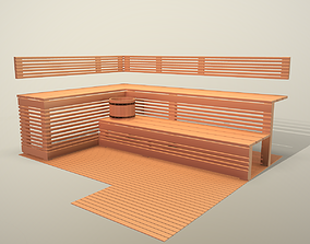 3D model Wooden bench for sauna